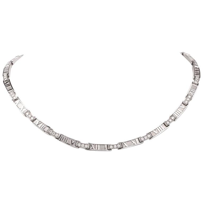 2c8bd50a6 Tiffany & Co. Atlas Collection Diamond 18k Gold Choker Necklace For Sale