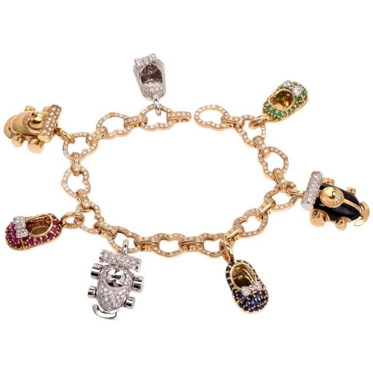 Wonderful  Aaron Basha Diamond Shoes Charm Bracelet