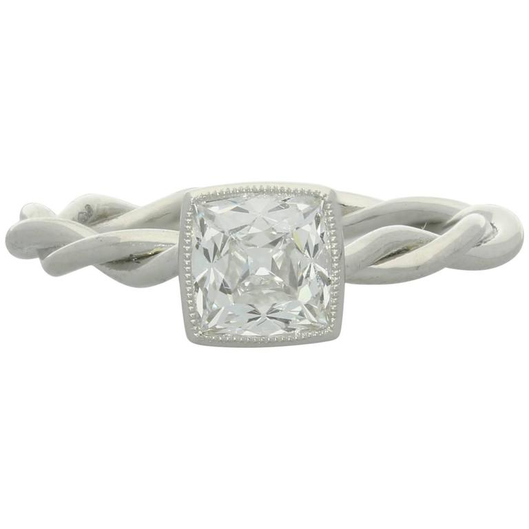 Hancocks  1.09ct Peruzzi Cut Diamond And Platinum Ring