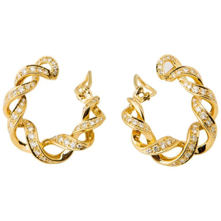 Tiffany Co Diamond Gold Hoop Earrings For