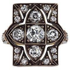 Beautiful Rectangular Diamond Gold Cluster Ring