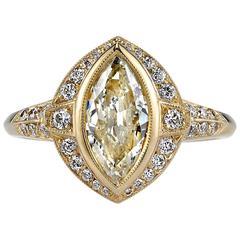 Sleek 1.09 Carat GIA Cert Marquise Cut Diamond Gold Ring