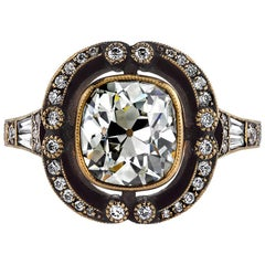 2.14 Carat Cushion Cut Diamond Gold Engagement Ring