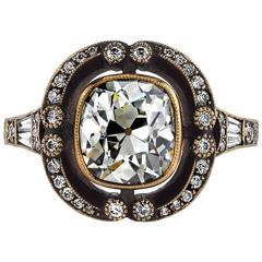 2.14 Carat Cushion Cut Diamond Gold Engagement Ring
