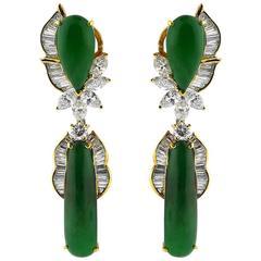 Fine GIA Cert Burmese Jadeite Diamond Gold Earrings