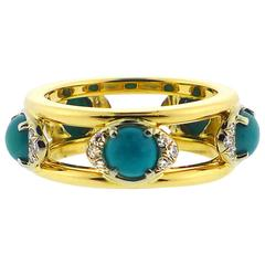 1980s T. Foster and Co. Cabochon Turquoise Diamond Gold Ring
