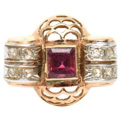 Retro Rubelite and Diamond 14K Rose Gold Ring