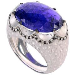 14.21 Carat Tanzanite Diamond Gold Ring