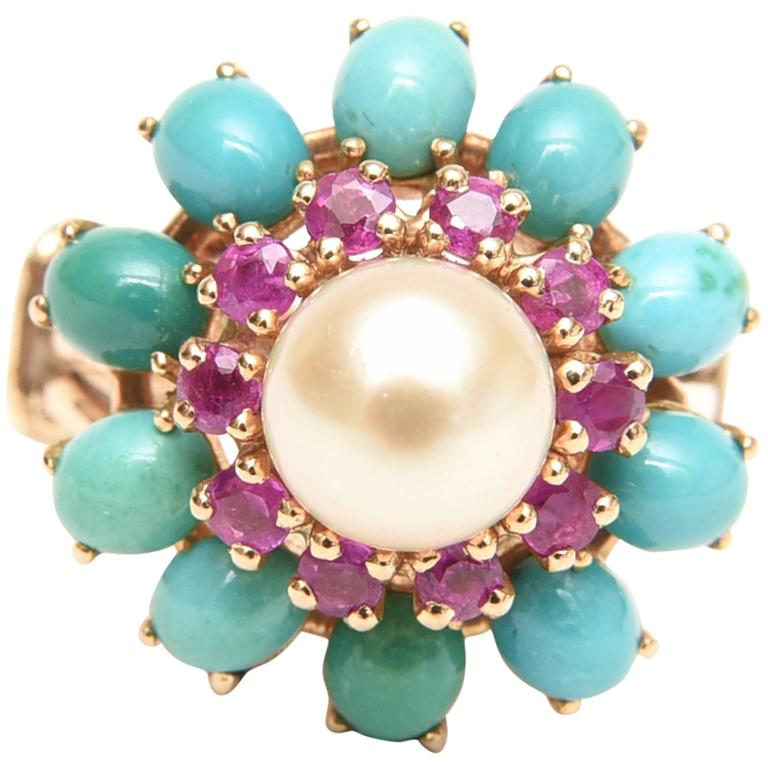 Ruby, Pearl, Turquoise and 14 Karat Yellow Gold Dome Cocktail Ring