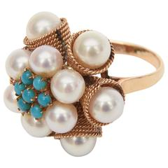 Cultured Pearl, Turquoise & 14K Yellow Gold Dome Cocktail Ring