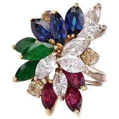 Multi Gem Diamond Gold Cluster Ring