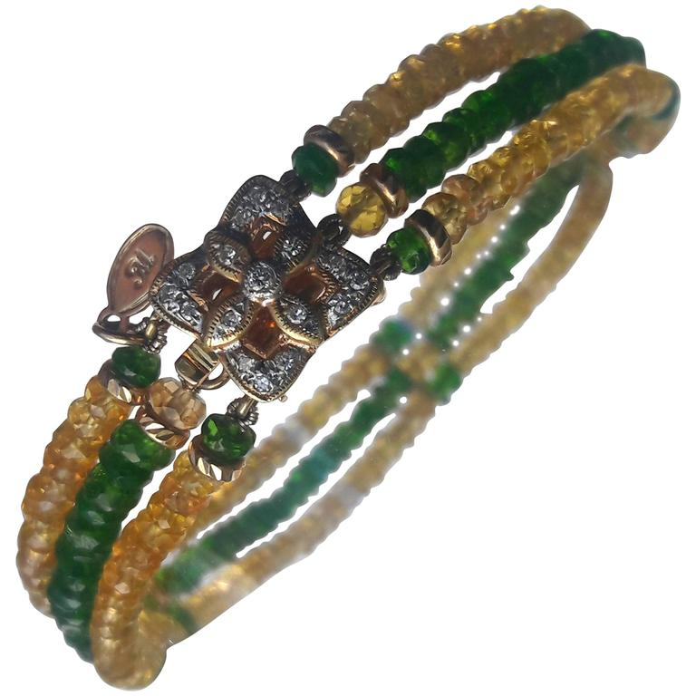 Tsavorite Citrine Faceted Bead Bracelet with Diamond Gold Clasp Centre