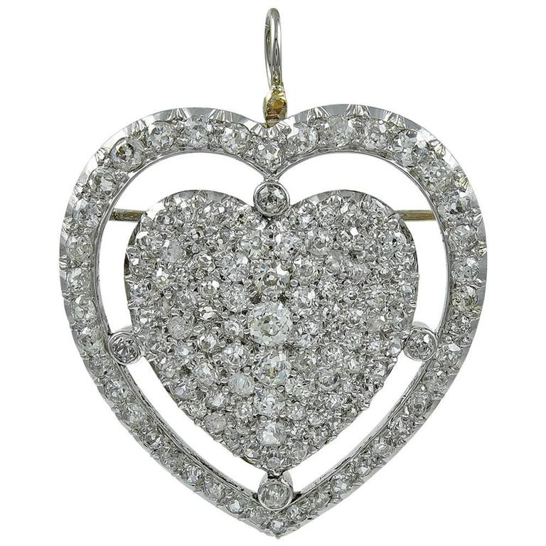 Big Beautiful Diamond Heart Gold Pendant Pin