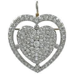 Big Beautiful Diamond Heart Gold Pendant Pin