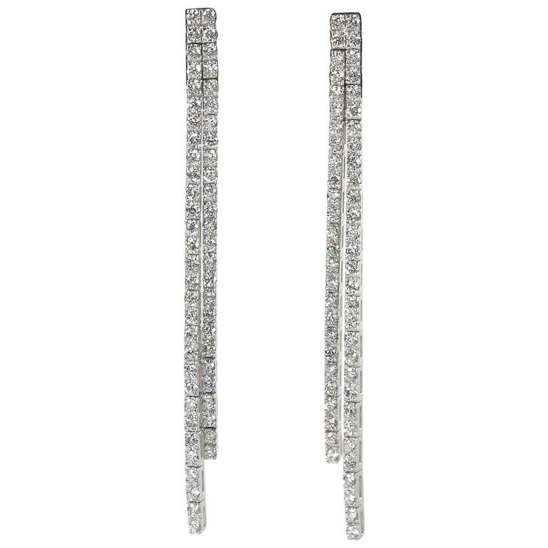 Contemporary Diamond Line Dangle Earrings For Sale