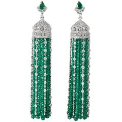 Important Emerald Diamond Gold Tassel Earrings