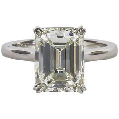 Elegant 4.26 Carat GIA Cert Emerald Cut Diamond Solitaire Engagement Ring