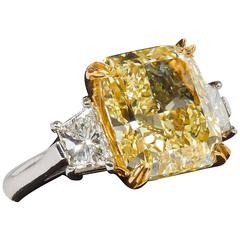 5.62 Carat GIA Cert Fancy Yellow Diamond Gold Platinum Ring