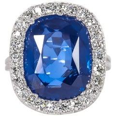 Rare GIA Certified 15 Carat Burma No Heat Natural Sapphire Ring