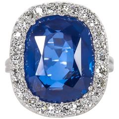 Rare GIA Certified 15 Carat Burma No Heat Natural Sapphire Ring