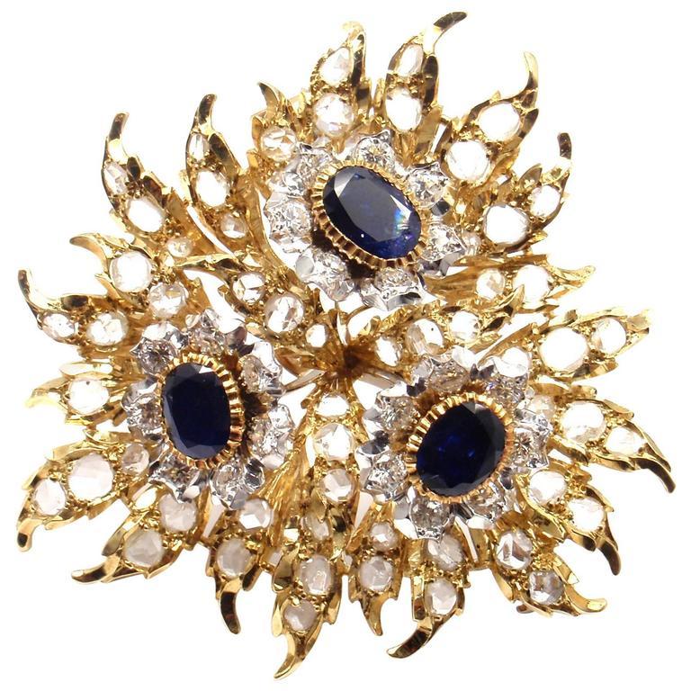 Buccellati 6 Carats Diamonds Sapphire Large Gold Pin Brooch
