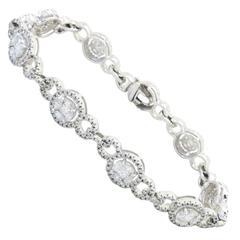 4.00 Carats Diamonds Gold Halo Tennis Bracelet