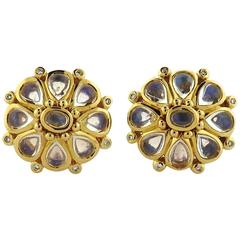 Temple St. Clair Moonstone Diamond Gold Blossom Earrings