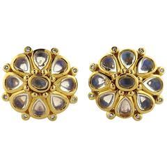 Temple St. Clair Moonstone Diamond Gold Blossom Earrings