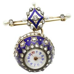 Antique Blue Enamel Diamond Orb Ball Lapel Watch in Gold and Silver
