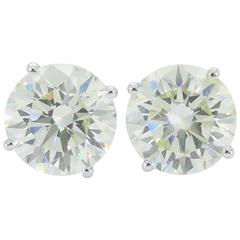 6 Carats Round Brilliant Cut Diamonds Gold Stud Earrings