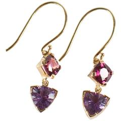 Beautiful Handmade Garnet Amethyst 18 Karat Yellow Gold Dangle Earrings