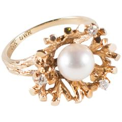 Foliate Motif Pearl Diamond and Yellow Gold Ring