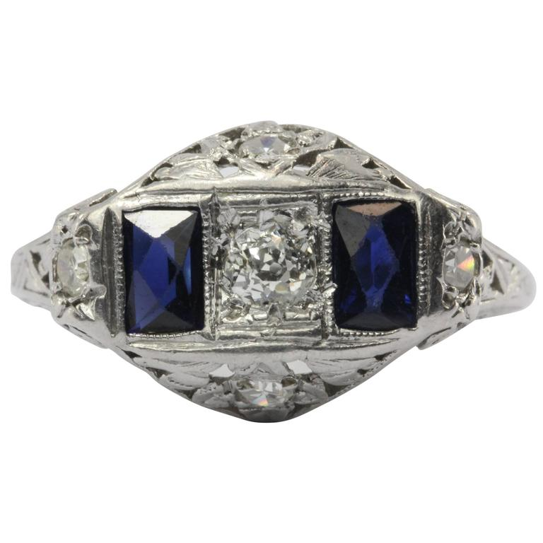 Art Deco Sapphire Old European Diamond Platinum Ring
