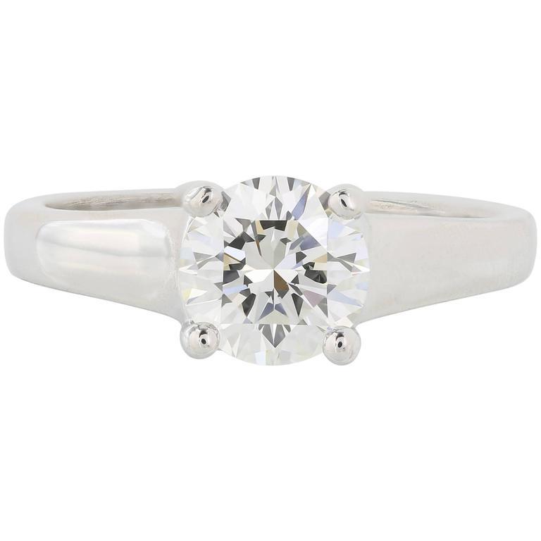 1.13 Carat G/VVS1 GIA Cert Triple Excellence Diamond Platinum Ring