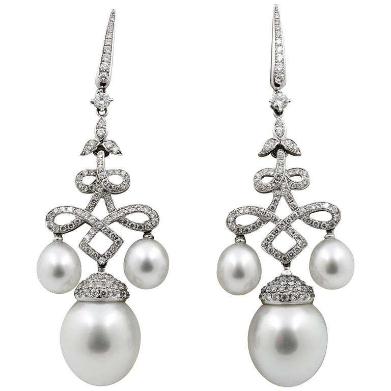 Classic South Sea Pearl Gold Chandelier Earrings For Sale ...