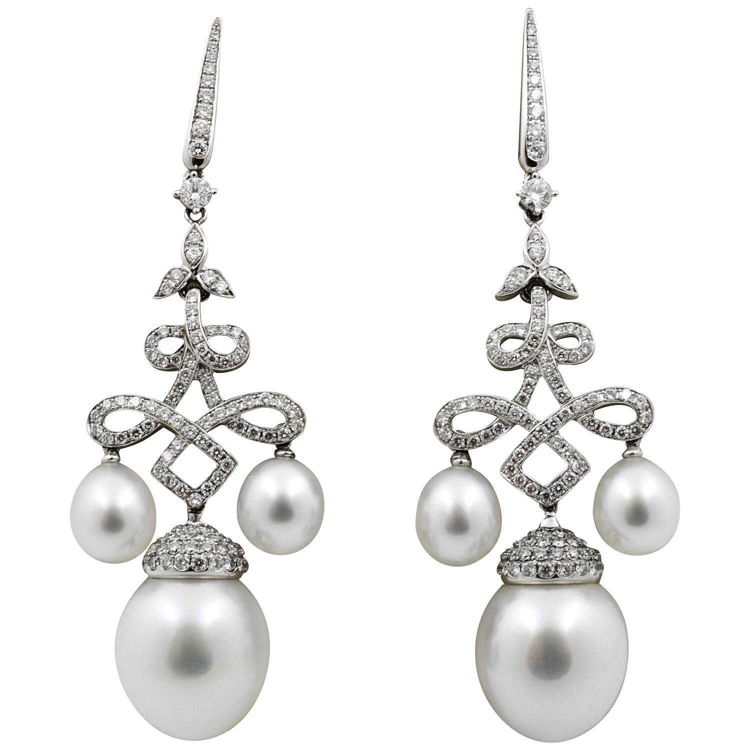 Classic South Sea Pearl Gold Chandelier Earrings For Sale at 1stdibs