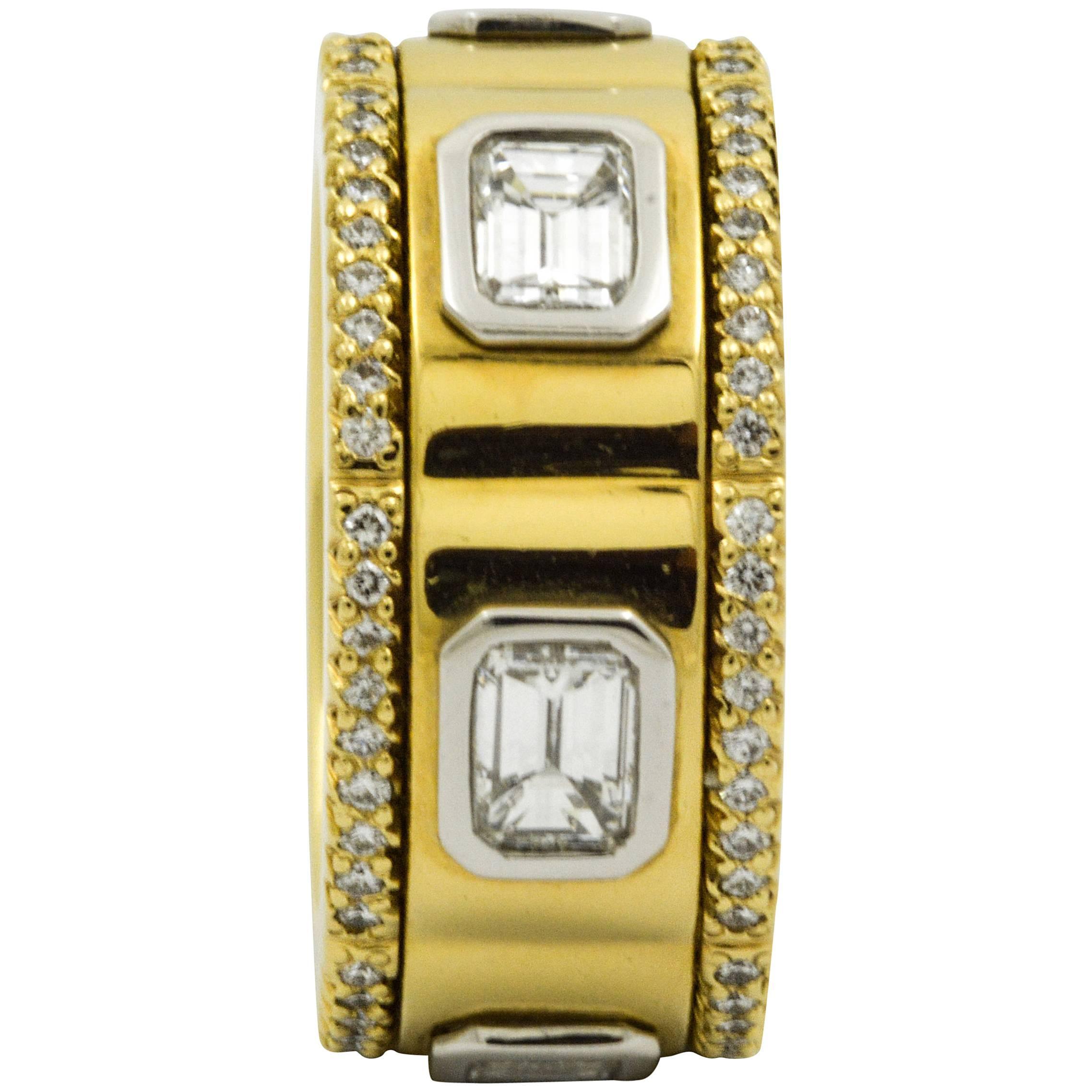2.46 CT Diamond Michael B Gold Platinum Eternity Band Ring