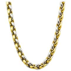 Thick Cable Link 18 Inch Two Color Gold Necklace