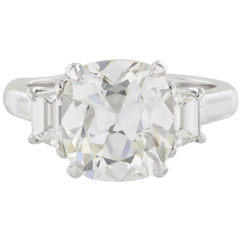 4.14 Carat GIA Certified Cushion Cut Diamond Platinum Three-Stone Ring