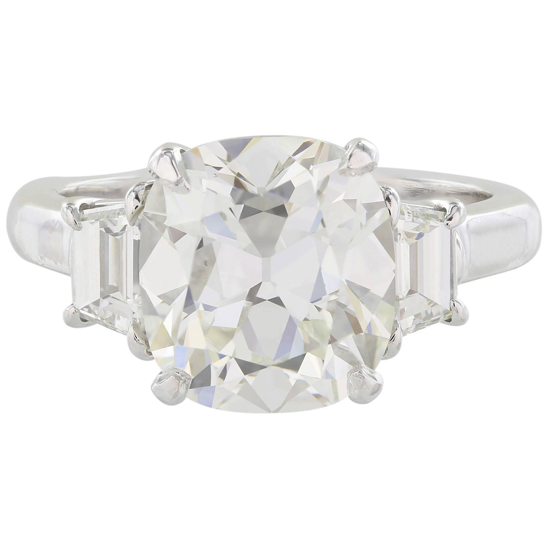 4 14 Carat GIA Cert Cushion Cut Diamond Platinum Three Stone Ring For Sale at
