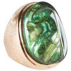 Burle Marx Yellow Gold and Sculpted Green Tourmaline Ring