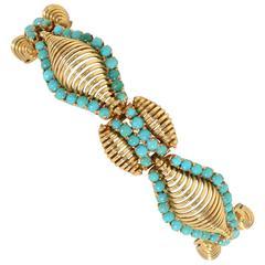 Modernist Turquoise Gold Bracelet