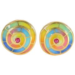 1960s Enamel Ruby Gold Spiral Design Earrings