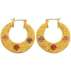 Gemstone Gold Hoop Earrings