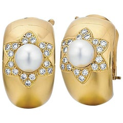 Van Cleef & Arpels 18K Gold Cultured Pearl and Diamond Earrings