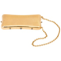 18K Gold, Sapphire French Compact Purse Box