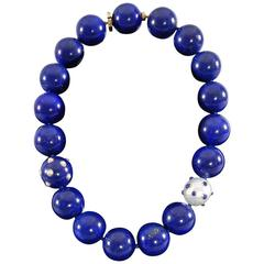 Angela Cummings Lapis Lazuli Pearl Gold Beaded Necklace with Verdura Beads