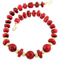 Chunks and Round Chinese Dyed Bamboo Coral Necklace
