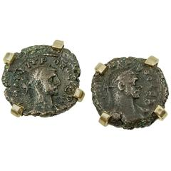 Elegant Ancient Coin and Gold Cufflinks