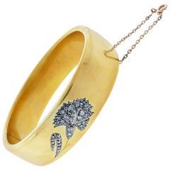 Elegant French Rose Cut Diamond Gold Carnation Bracelet